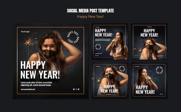 Colección de publicaciones de instagram para la celebración del año nuevo