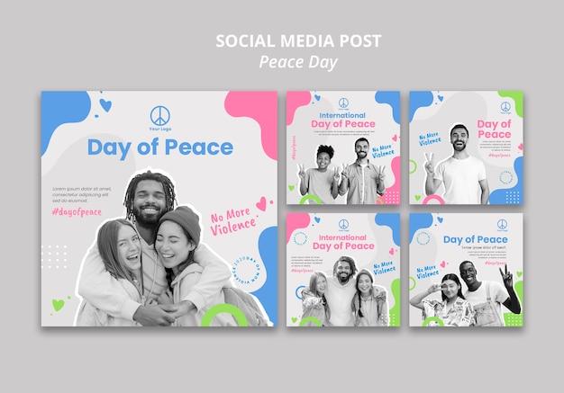 Colección de publicaciones de instagram para la celebración del día internacional de la paz