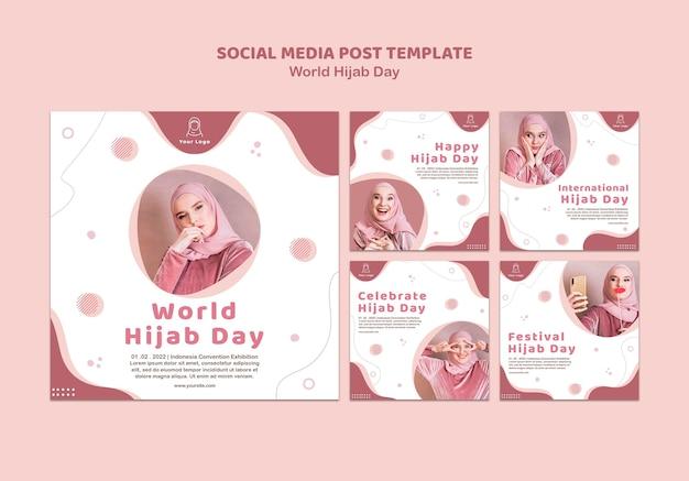 Colección de publicaciones de instagram para la celebración del día mundial del hijab