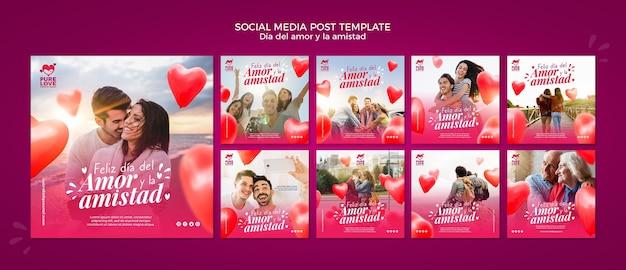 Colección de publicaciones de instagram para la celebración del día de san valentín