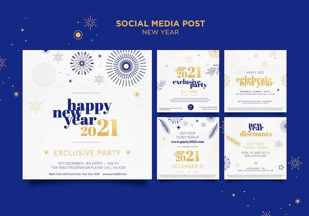 Colección de publicaciones de instagram para la celebración de la fiesta de año nuevo