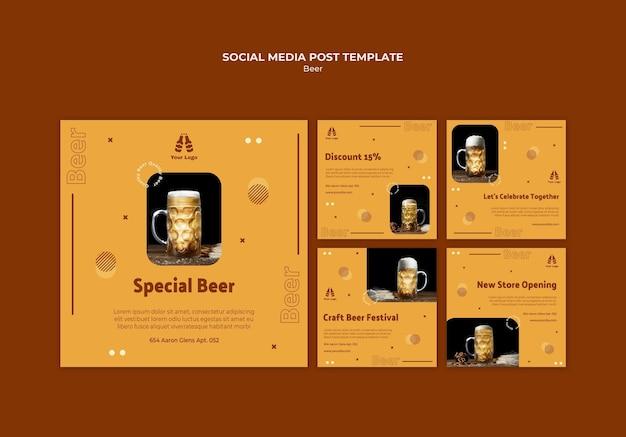 Colección de publicaciones de instagram para cerveza fresca