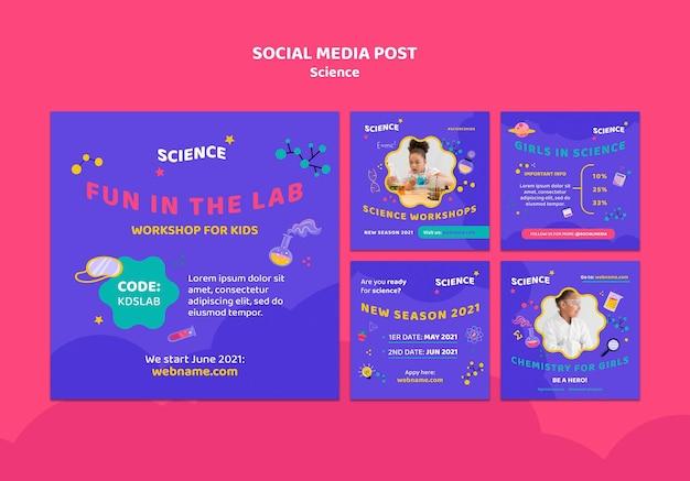 Colección de publicaciones de instagram para ciencia infantil