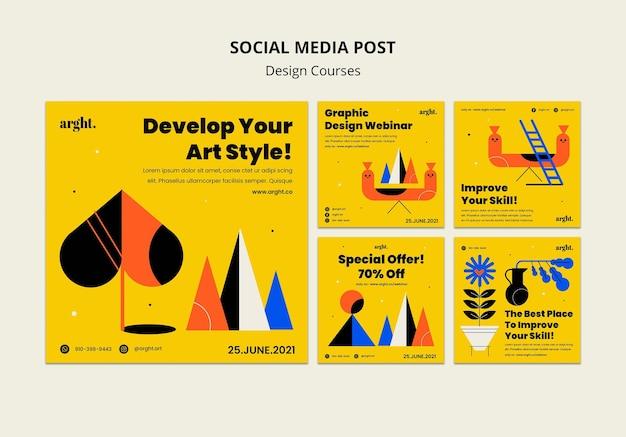 Colección de publicaciones de instagram para clases de diseño gráfico