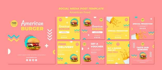 Colección de publicaciones de instagram para comida americana con hamburguesa