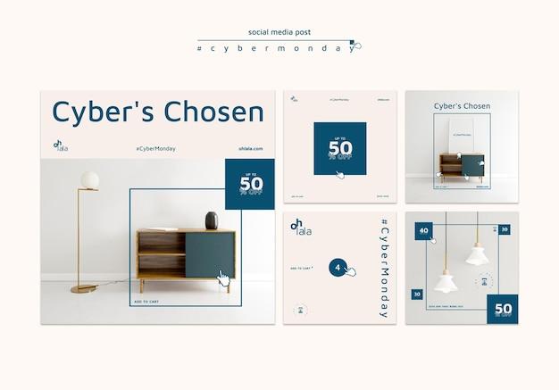 Colección de publicaciones de instagram para las compras del cyber monday