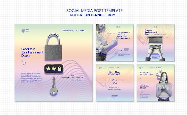 Colección de publicaciones de instagram para concienciar sobre el día más seguro en internet