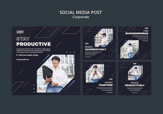 Colección de publicaciones de instagram para corporaciones comerciales profesionales