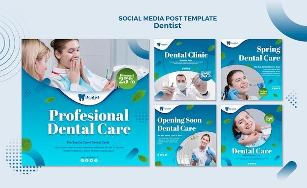 Colección de publicaciones de instagram para el cuidado dental