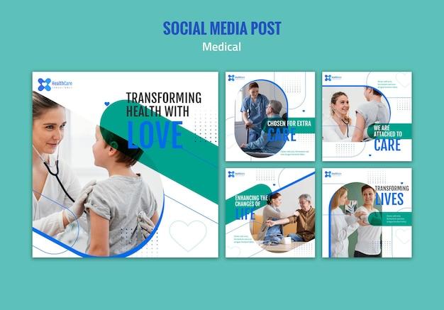Colección de publicaciones de instagram para el cuidado de la salud