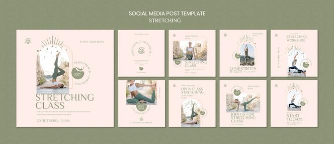 Colección de publicaciones de instagram para el curso de estiramiento