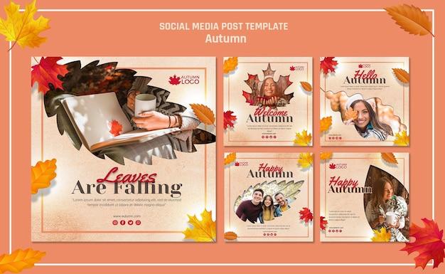 Colección de publicaciones de instagram para dar la bienvenida a la temporada de otoño