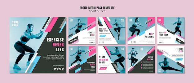 Colección de publicaciones de instagram para deporte y fitness