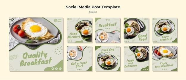 Colección de publicaciones de instagram para un desayuno saludable