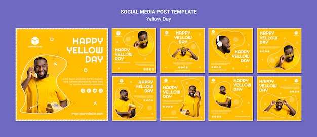 Colección de publicaciones de instagram para el día amarillo