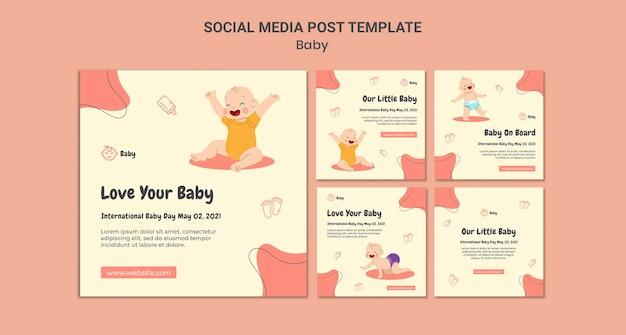 Colección de publicaciones de instagram para el día internacional del bebé