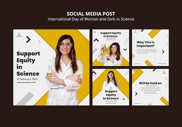 Colección de publicaciones de instagram para el día internacional de las mujeres y niñas en la ciencia