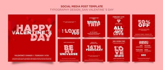 Colección de publicaciones de instagram para el día de san valentín con corazones