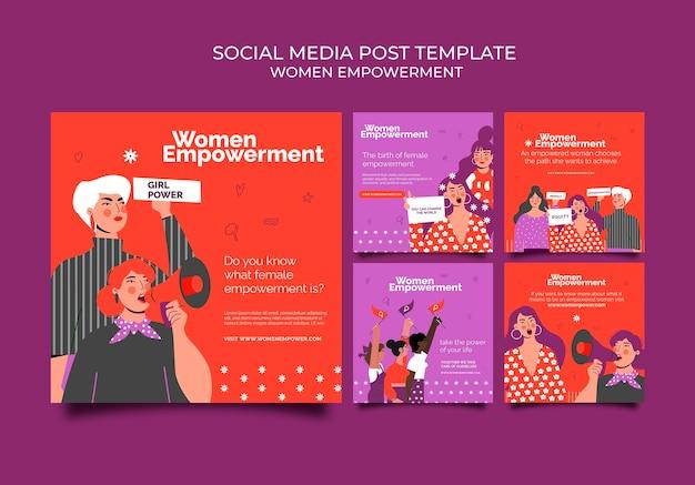 Colección de publicaciones de instagram para el empoderamiento de las mujeres