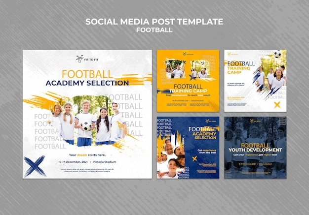 Colección de publicaciones de instagram para entrenamiento de fútbol infantil