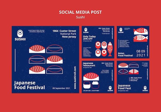 Colección de publicaciones de instagram para festival de comida japonesa con sushi