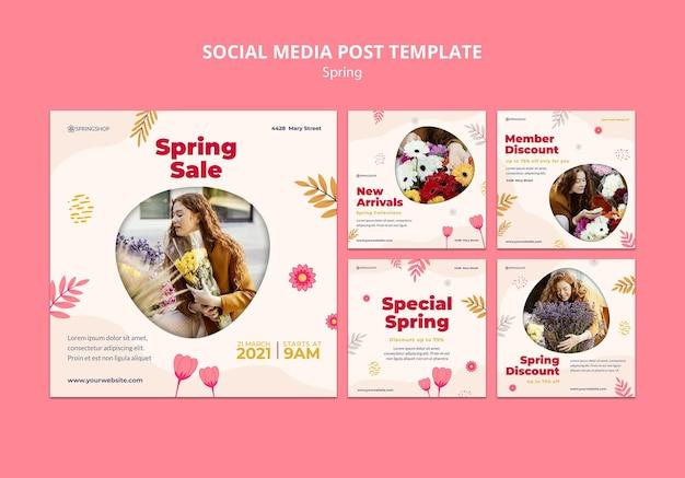 Colección de publicaciones de instagram para floristería con flores de primavera