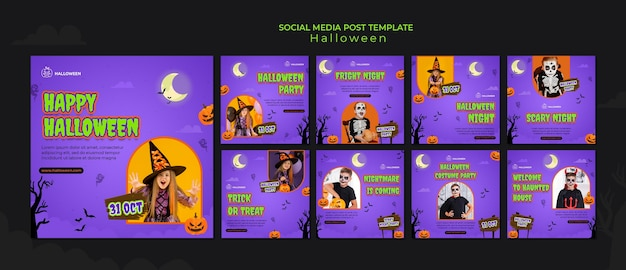 Colección de publicaciones de instagram para halloween con niño disfrazado