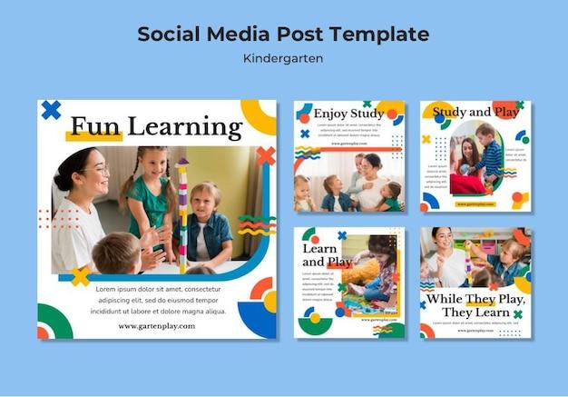 Colección de publicaciones de instagram para jardín de infantes con niños