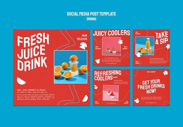 Colección de publicaciones de instagram para jugos de frutas saludables