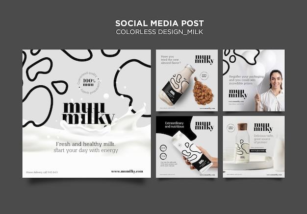 Colección de publicaciones de instagram para leche con diseño incoloro