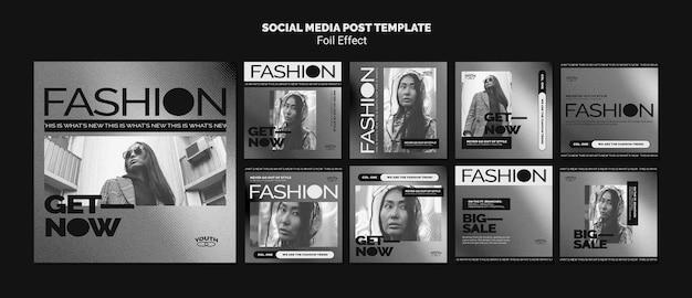Colección de publicaciones de instagram para moda con efecto papel de aluminio
