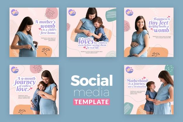Colección de publicaciones de instagram con mujer embarazada