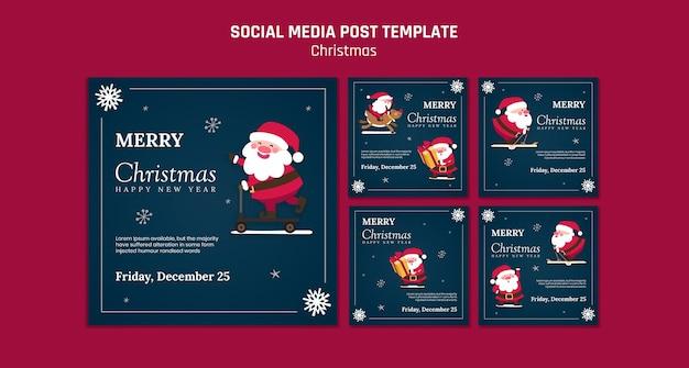 Colección de publicaciones de instagram para navidad con santa claus