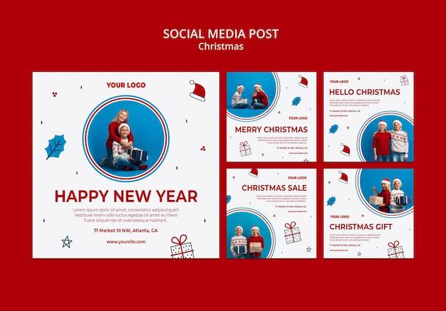 Colección de publicaciones de instagram para navidad