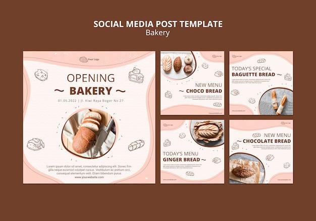 Colección de publicaciones de instagram para negocios de panadería