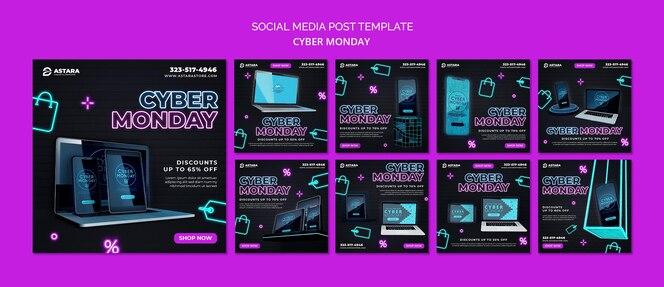 Colección de publicaciones de instagram de neon cyber monday