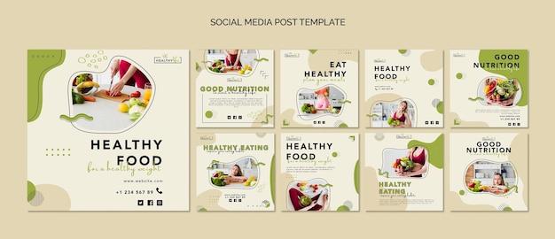 Colección de publicaciones de instagram para una nutrición saludable