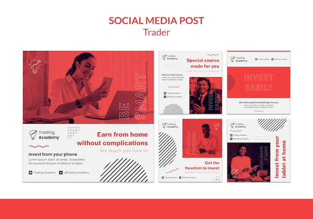 Colección de publicaciones de instagram para la ocupación de inversores de inversión