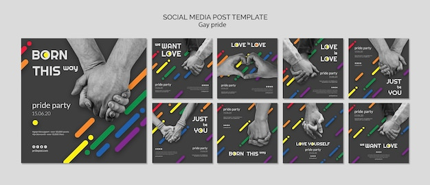 Colección de publicaciones de instagram para el orgullo gay