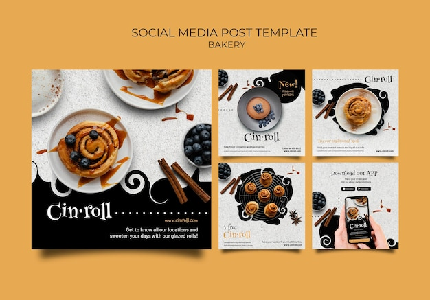 Colección de publicaciones de instagram para panadería
