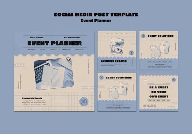 Colección de publicaciones de instagram para planificador de eventos