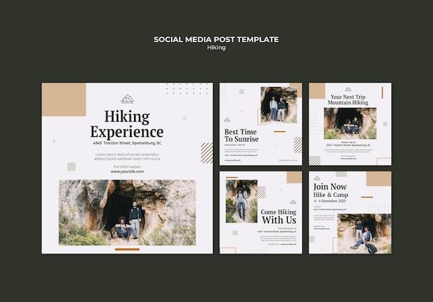 Colección de publicaciones de instagram para practicar senderismo en la naturaleza