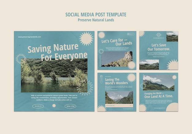 Colección de publicaciones de instagram para la preservación de la naturaleza con paisaje