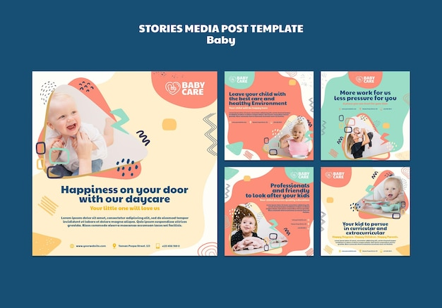Colección de publicaciones de instagram para profesionales del cuidado del bebé