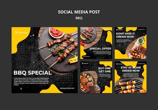 Colección de publicaciones de instagram para restaurante de barbacoa
