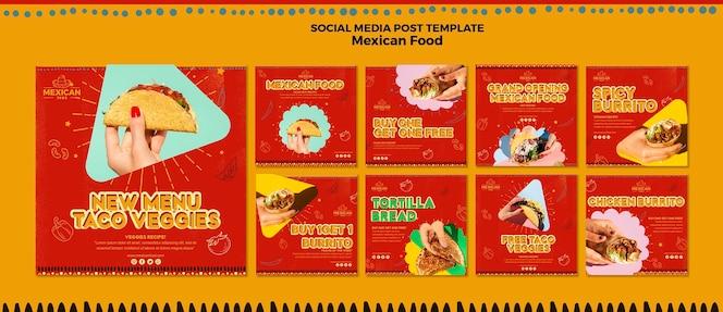 Colección de publicaciones de instagram para restaurante de comida mexicana