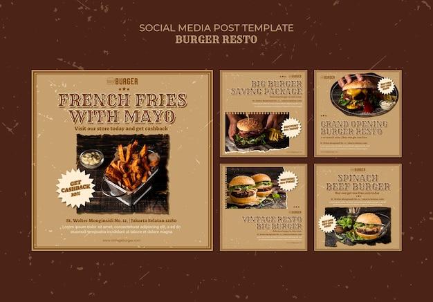 Colección de publicaciones de instagram para restaurante de hamburguesas
