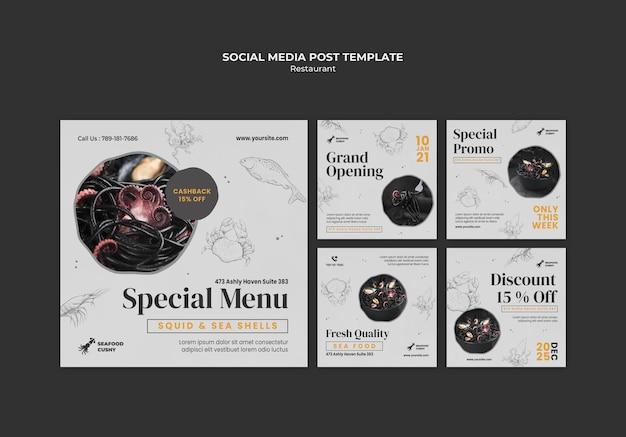 Colección de publicaciones de instagram para restaurante de mariscos con mejillones y fideos
