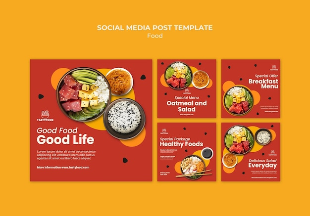 Colección de publicaciones de instagram para restaurante con plato de comida saludable