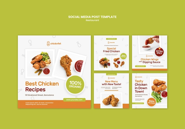 Colección de publicaciones de instagram para restaurante de plato de pollo frito